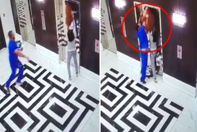 狗狗被电梯拽向天花板 路人一瞬间救命