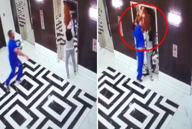 狗狗被电梯拽向天花板 路人一瞬间救命5